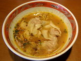 汁なし担々麺 スープ投入