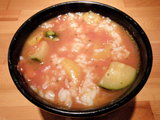 トマトつけ麺 つけ汁にライス投入