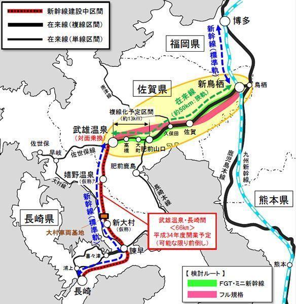 長崎新幹線路線図