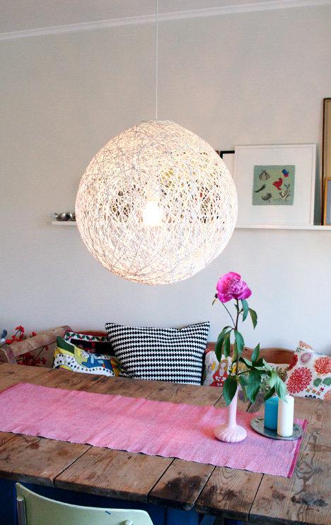 毛糸で手作りランプシェード