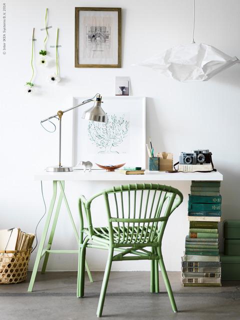 抹茶グリーンのホームオフィス