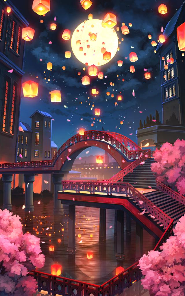朱塗りの橋に舞う灯籠
