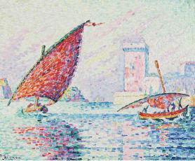 シニャック《マルセイユ,釣舟》