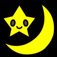 フリー素材月と星背景透過