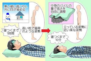 90パイプ枕の高低調整で不眠症首や肩こりの不快さを改善に成功