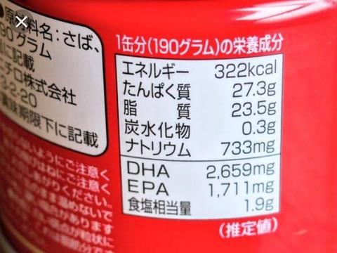 鯖缶の栄養、エグい程あるううう