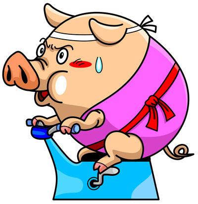 エアロバイク豚
