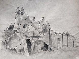 イラン遺跡水墨画