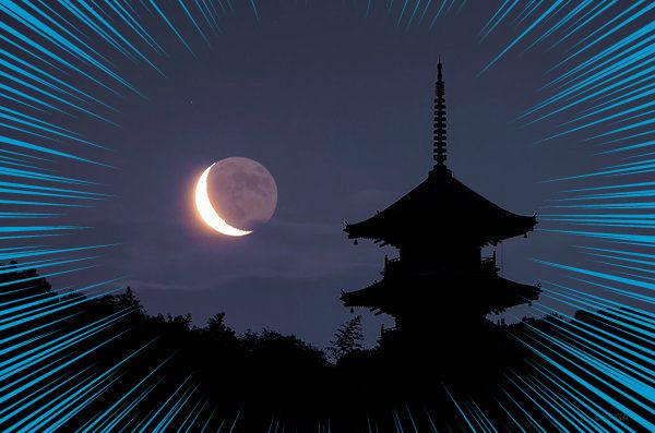 備中国分寺と二十六夜月のコラボが素敵すぎです!