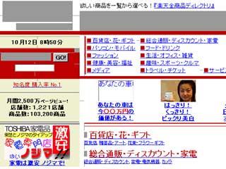 1999年10月当時の「楽天ホームページ」
