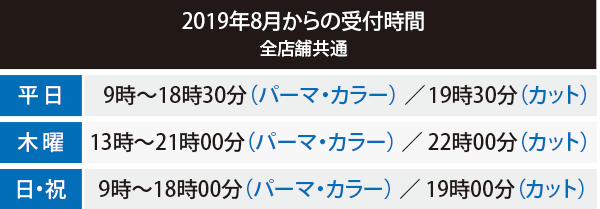 2019年8月1日より受付時間が変更となります。