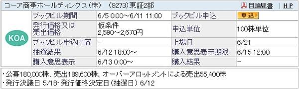 IPO-28-9273-仮 コーア商事ホールディングス