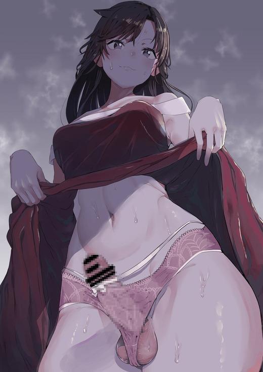【二次エロ】女の子なのにビンビンの肉棒が生えているフタナリ画像