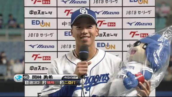 中日・又吉克樹広報、攻守で大活躍を見せた岡林勇希選手の写真を投稿する!