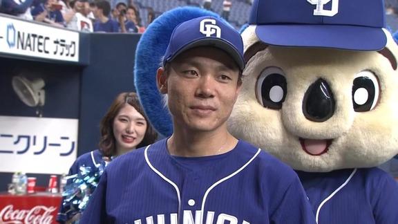 中日・大島洋平が神宮球場で始球式 日本プロ野球選手会理事長として