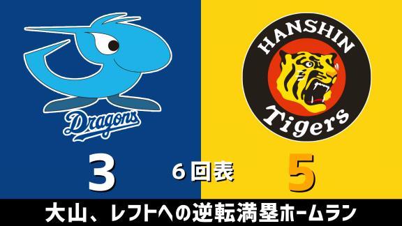 9月18日(金) セ・リーグ公式戦「中日vs.阪神」 スコア速報