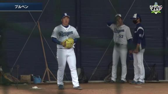 中日ドラフト4位・福島章太投手がブルペン投球を披露! 力強い球を投げ込む!【動画】
