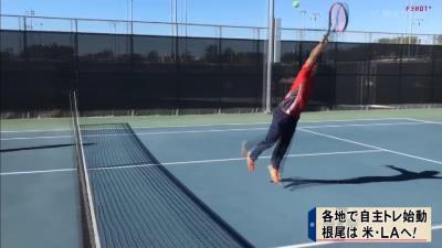中日・根尾昂、米ロサンゼルスでバスケ&テニスを楽しむ【動画】
