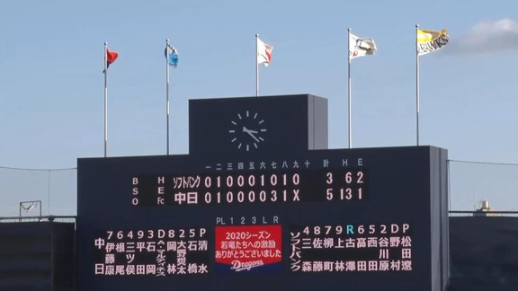 10月25日(日) ファーム公式戦「中日vs.ソフトバンク」【試合結果、打席結果】 中日2軍、首位・ソフトバンクに5-3で勝利!