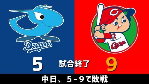 9月2日(水) セ・リーグ公式戦「中日vs.広島」 スコア速報