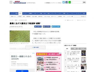 豊橋の試合「中日×阪神」で虫が大量発生