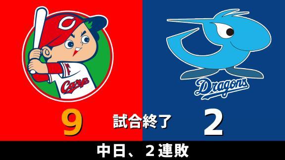 9月16日(水) セ・リーグ公式戦「広島vs.中日」 スコア速報