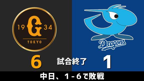 8月14日(金) セ・リーグ公式戦「巨人vs.中日」 スコア速報