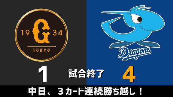 8月16日(日) セ・リーグ公式戦「巨人vs.中日」 スコア速報