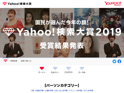 『Yahoo!検索大賞2019』が発表される! 愛知県はもちろん…