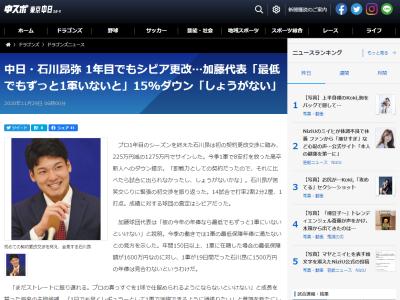 中日・加藤球団代表、石川昂弥の15%ダウン契約更改について…「彼の今年の年俸なら最低でもずっと1軍にいないといけない」