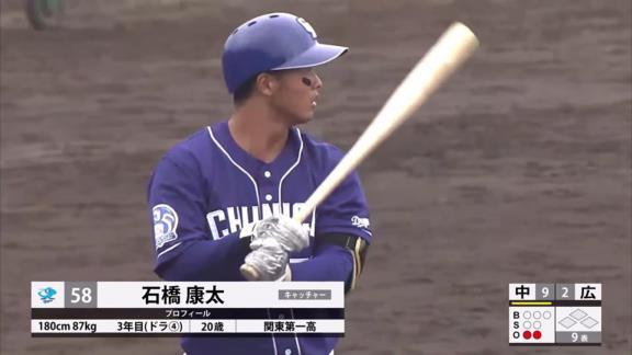 中日・石橋康太、ファーム今季通算6安打、二塁打1本、本塁打4本