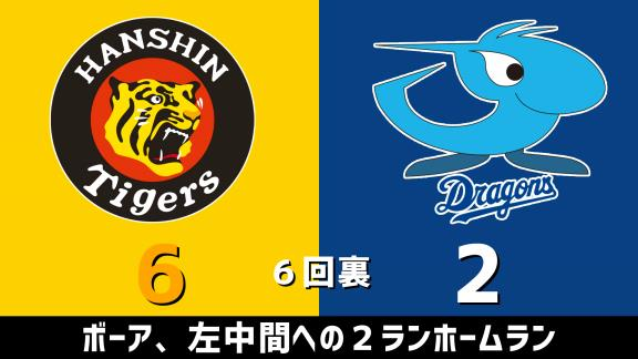 8月26日(水) セ・リーグ公式戦「阪神vs.中日」 スコア速報