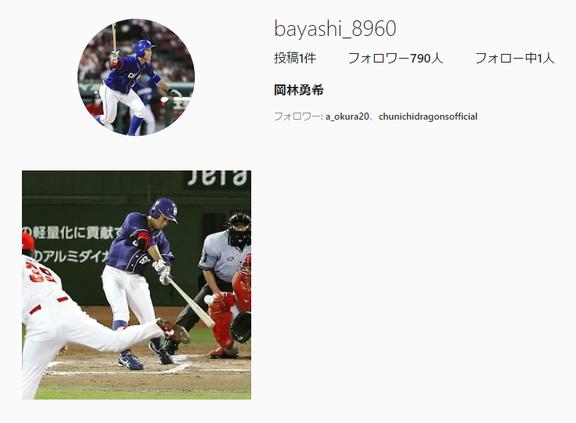 中日・岡林勇希選手、Instagramを始める!!!