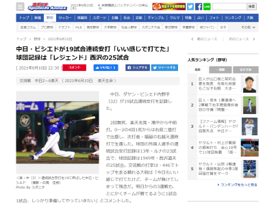 5月18日(火) 中日・ビシエド 打率.244 5本 19打点