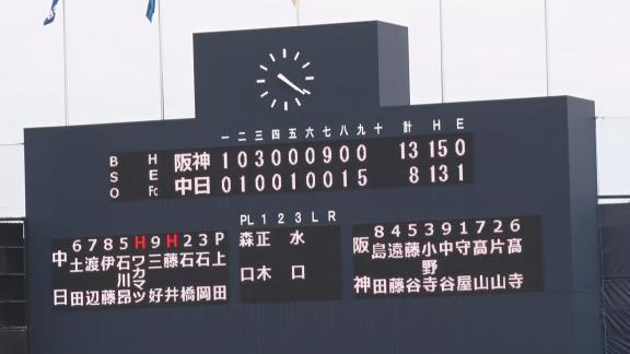 6月6日(日) ファーム公式戦「中日vs.阪神」【試合結果、打席結果】 中日2軍、8-13で敗戦… 最終回に一挙5得点の猛攻で意地を見せる
