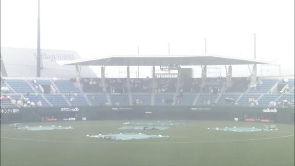 中日・岡林勇希、雨天中止後にグラウンドに敷いてあるシートにヘッドスライディングしてびしょ濡れになる