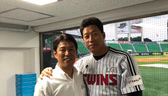 井端弘和さん、元中日・李炳圭と再会する