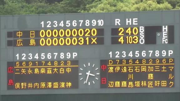 6月3日(木) ファーム公式戦「広島vs.中日」【試合結果、打席結果】 中日2軍、2-4で敗戦… 終盤に失点し、接戦を落とす…