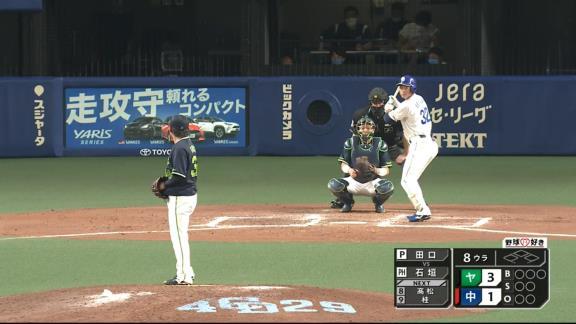 中日・石垣雅海、あと少しでホームランのフェンス直撃ツーベースヒットを放つ!!!「うまく一発で捉えられて良かったと思います」