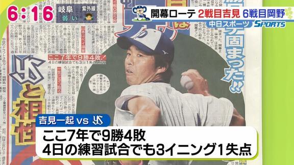 中日スポーツの開幕ローテーション予想 2戦目に吉見一起、6戦目に岡野祐一郎か