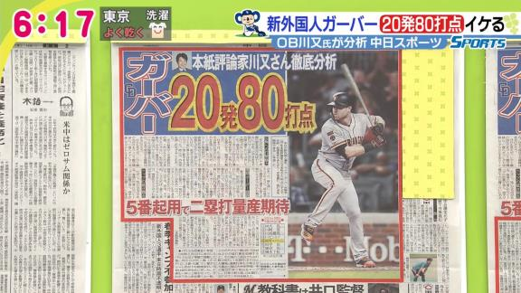 川又米利さん「中日新助っ人・ガーバーは20本塁打、80打点を期待できる」