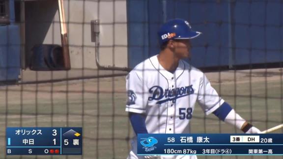 中日・石橋康太、久しぶりの実戦で…完璧な2ランホームランを叩き込む!!! 打った瞬間それと分かる当たり!