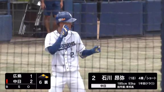 中日ドラフト1位・石川昂弥、2打席連続のタイムリーツーベースを放つ! 6月ファーム練習試合では6試合で打率.348 7打点と絶好調!【動画】