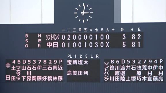 6月22日(火) ファーム練習試合「中日2軍vs.ソフトバンク3軍」【試合結果、打席結果】 中日2軍、5-3で勝利! シーソーゲームを制す!!!