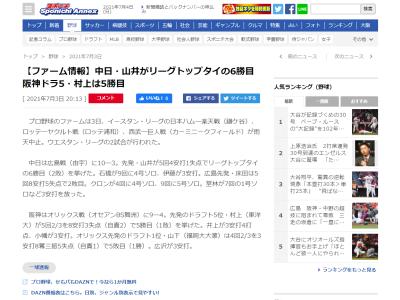 中日・山井大介投手、勝利数でウエスタン・リーグトップに並ぶ
