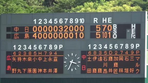 6月1日(火) ファーム公式戦「広島vs.中日」【試合結果、打席結果】 中日2軍、5-5で延長10回引き分け 4点ビハインドから逆転に成功するも逃げ切れず