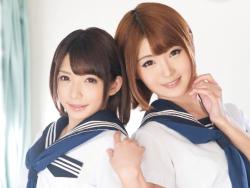 2人の美少女フタナリJKがお互いにハメ合い終わらない射精パーティー!