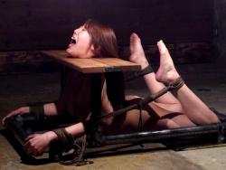 拷問具を付けられ動けない状態でマ○コとアナルを犯される女!