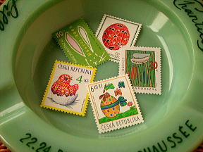 easter stamps+vintage french ashtray