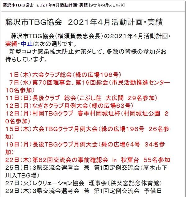 藤沢市TBG協会4月活動